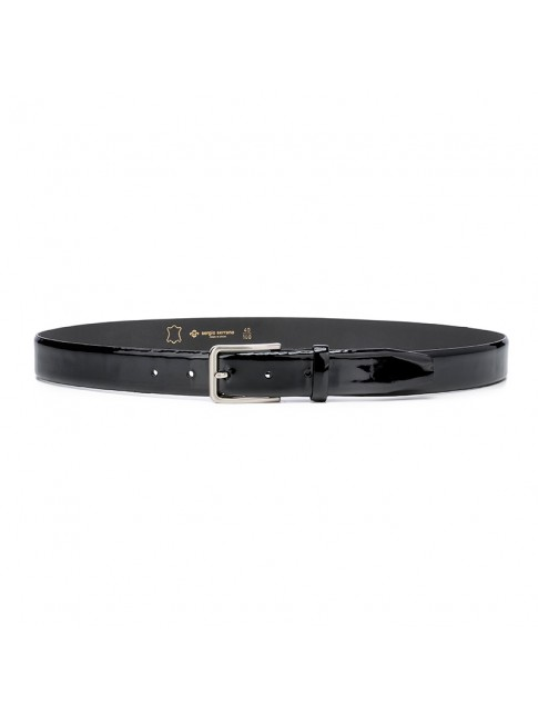 BLACK LUXORY BELT - BLACK PATENT LEATHER - MODEL 01 - SERGIO SERRANO