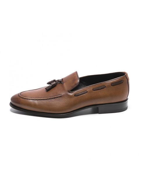MILLE POINTS EN CUIR MOCASIN MARRONE COGNAC