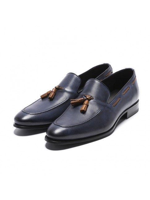MOCASIN LEATHER THOUSAND POINTS BLU